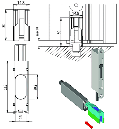 Dimensions and schematic of rebated drop-down door seal with flush bolt