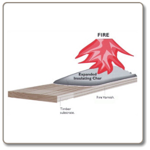 Intumescent fire varnish protects decorative timber.