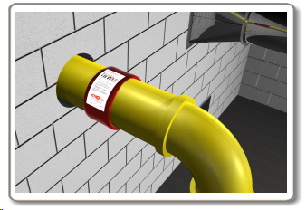ABS pipe fire protection with intumescent pipe wrap.