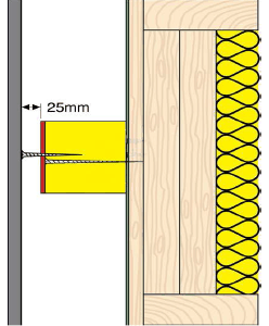 Ventilated Fire Barrier showing typical installation gap size.